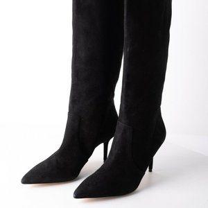Zara Womens Black Suede Knee High Heeled Boots 10